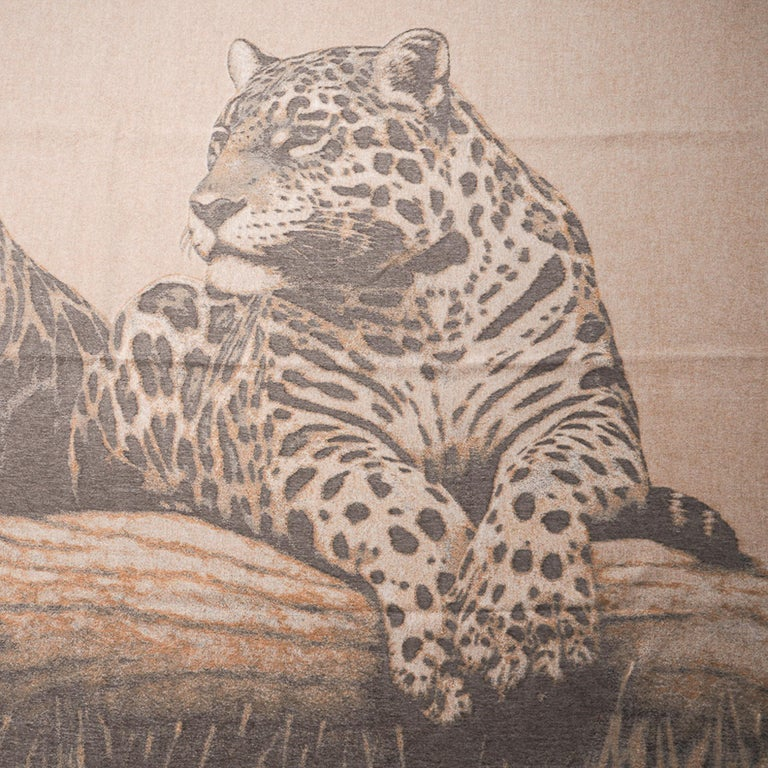 Mightychic offers a guaranteed authentic Hermes Jaguars Du Bresil blanket featured in Naturel. Impossibly soft jacquard woven Cashmerewith finged edge. This exquisiteHermes blanket will elevate any room you choose to display it in. Comes with