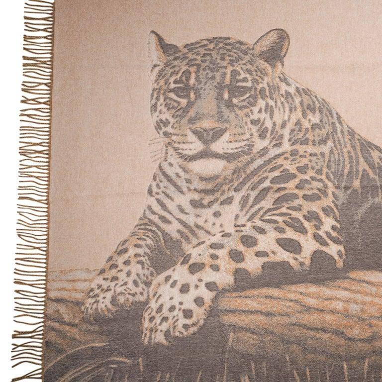 Women's or Men's Hermes Jaguars Du Bresil Blanket Naturel Cashmere New w/ Box For Sale