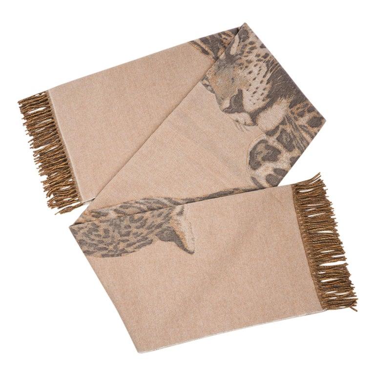 Hermes Jaguars Du Bresil Blanket Naturel Cashmere New w/ Box For Sale 1