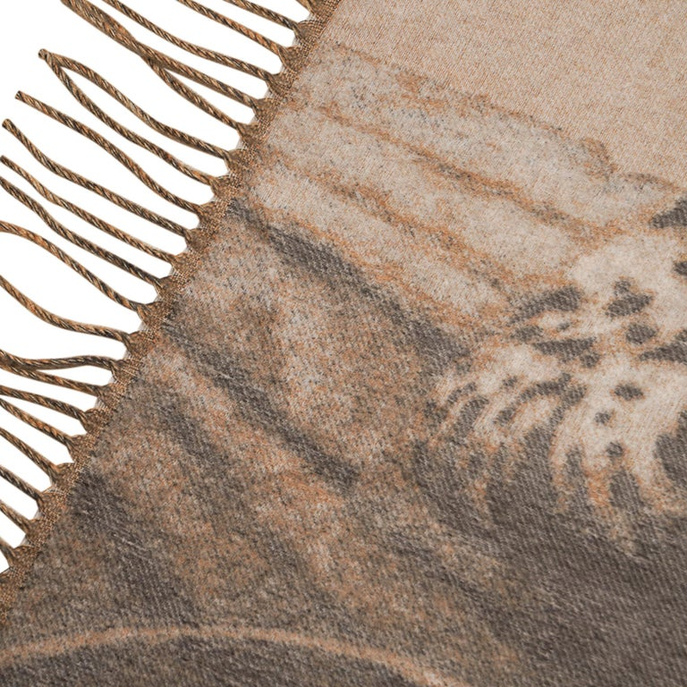 Hermes Jaguars Du Bresil Blanket Naturel Cashmere New w/ Box For Sale 3