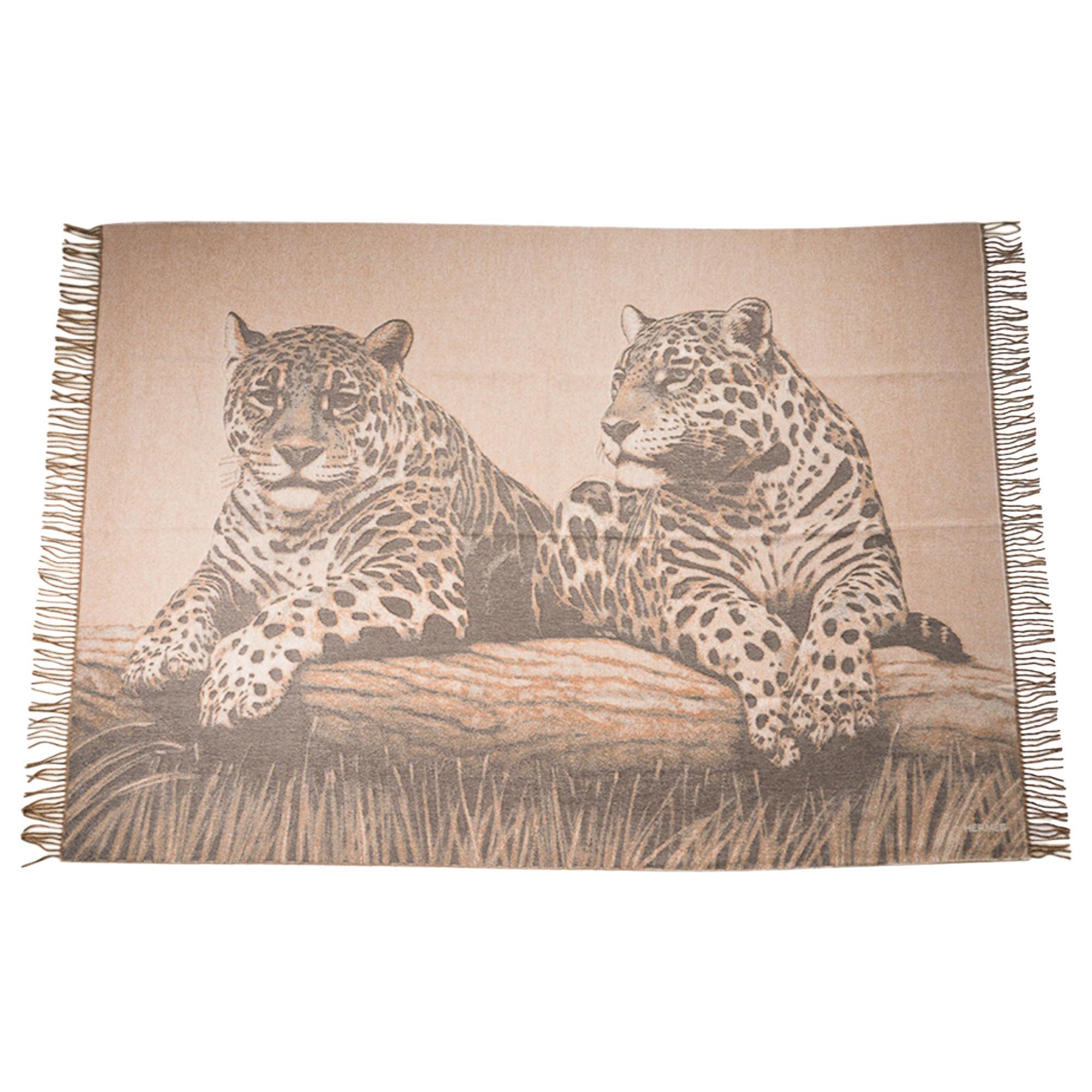 Hermes Jaguars Du Bresil Blanket Naturel Cashmere New w/ Box