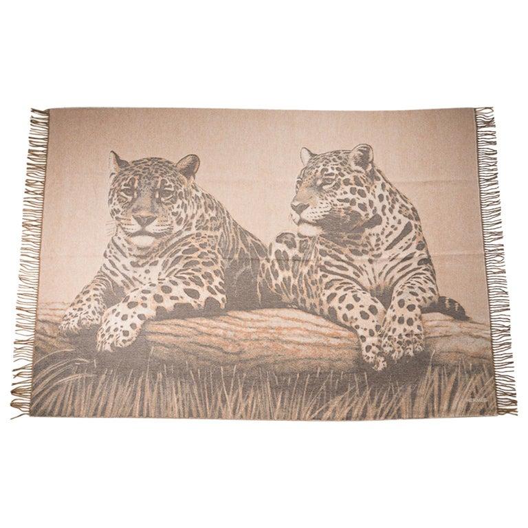Hermes Jaguars Du Bresil Blanket Naturel Cashmere New w/ Box For Sale