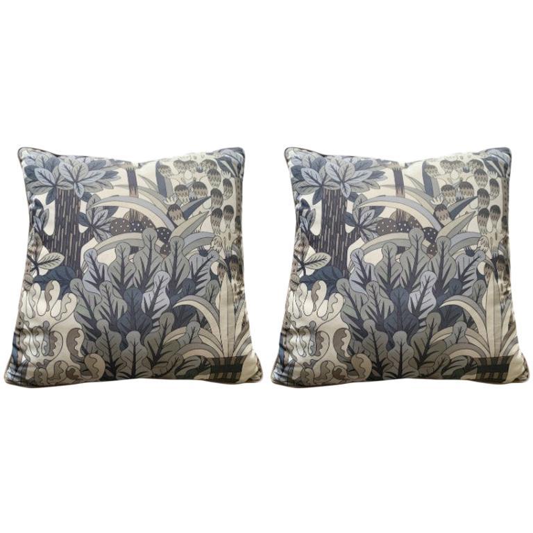 Hermes Jardin d'Osier Silk Blend Set of Two Cushions For Sale