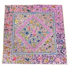 Hermes Jardins de Soie Rose Bonbon /Jaune Shawl 140 Scarf New w/Box