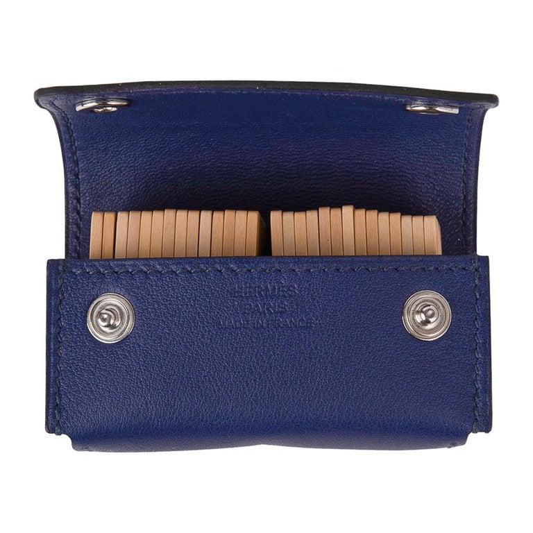 Hermes Jeu de Dominos In the Pocket Blue Encre Swift Leather New For Sale 1