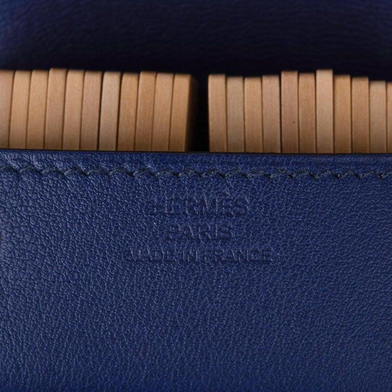 Hermes Jeu de Dominos In the Pocket Blue Encre Swift Leather New For Sale 4
