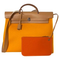 Hermes Jeune D'Or Yellow Toile Canvas & Leather Herbag Zip 39 Bag