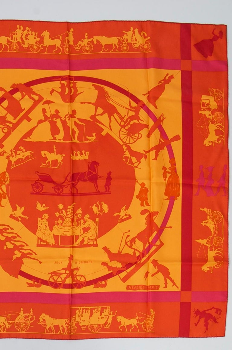 Red Hermès Jeux d'Ombres Silk Scarf For Sale
