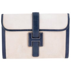 Hermes Jige Clutch Ivory Canvas and Navy Box Leather