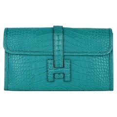 Hermes Jige Duo Wallet / Clutch Blue Paon Matte Alligator New