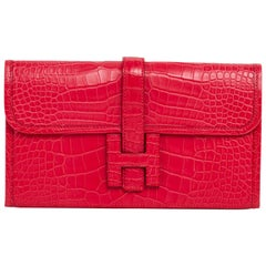 Hermes Jige Duo Wallet / Clutch Rose Extreme Matte Alligator New