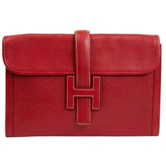 HERMES Jige Grained Courchevel Red Leather Clutch