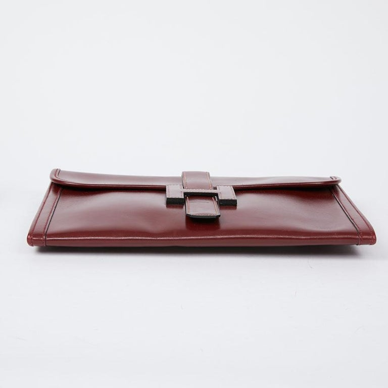 HERMES Jige Leather Box Clutch In Good Condition For Sale In Paris, FR