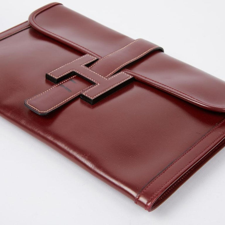 HERMES Jige Leather Box Clutch For Sale 1