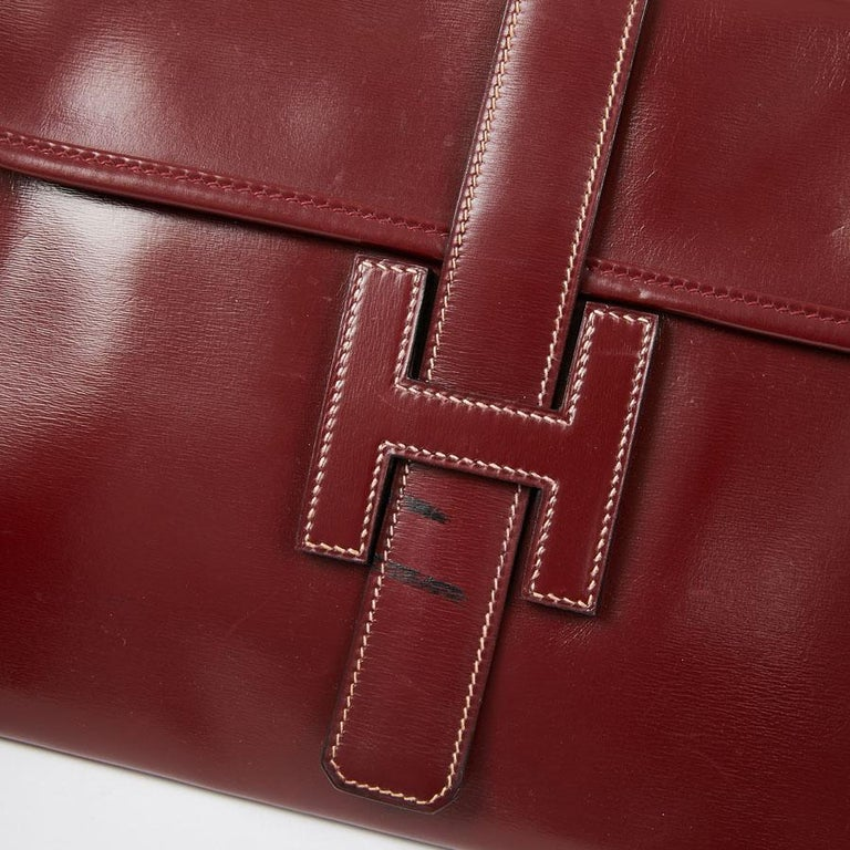 HERMES Jige Leather Box Clutch For Sale 2