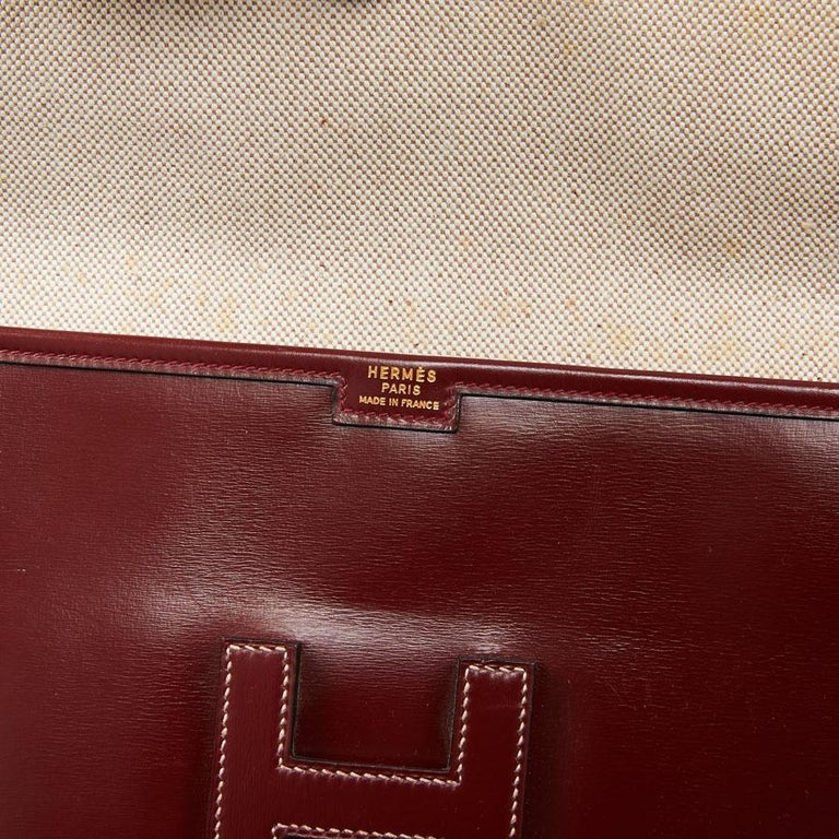 HERMES Jige Leather Box Clutch For Sale 3