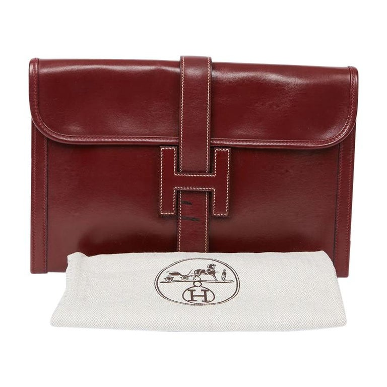 HERMES Jige Leather Box Clutch For Sale