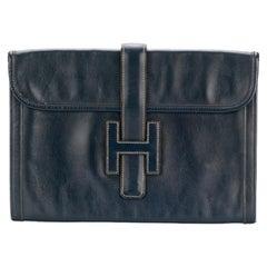 Hermes Jige Navy Box Leather Clutch