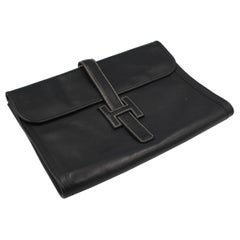 Hermes Jige XL A4 Clutch in Black Grained  Leather