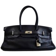 HERMES JPG Birkin Clemence Palladium Hardware 40 Black Leather Handbag