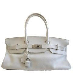 HERMES JPG Birkin Clemence Palladium Hardware 40 White Leather Handbag
