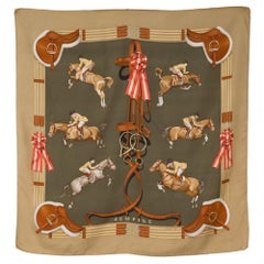 Hermes Jumping by Philippe Ledoux Silk Scarf