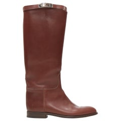 HERMES Jumping Kelly brown leather silver buckle strap flat ridiing boots EU39