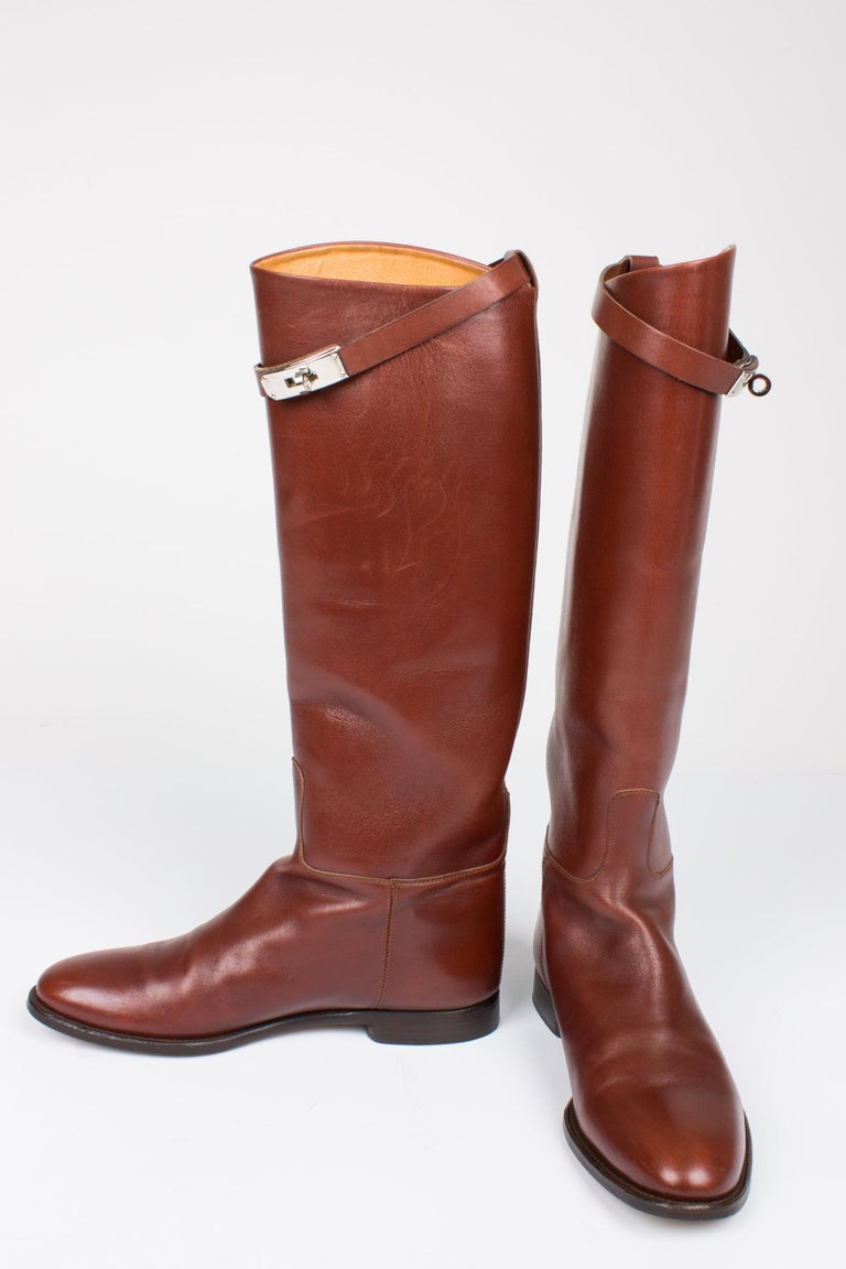 Brown Hermès Jumping Riding Equestrian Leather Boots - brown For Sale