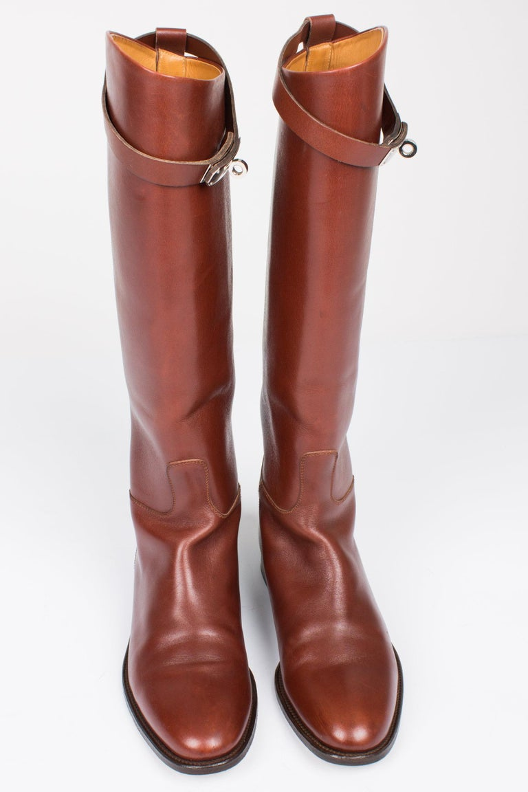 Hermès Jumping Riding Equestrian Leather Boots - brown In Excellent Condition For Sale In Baarn, NL