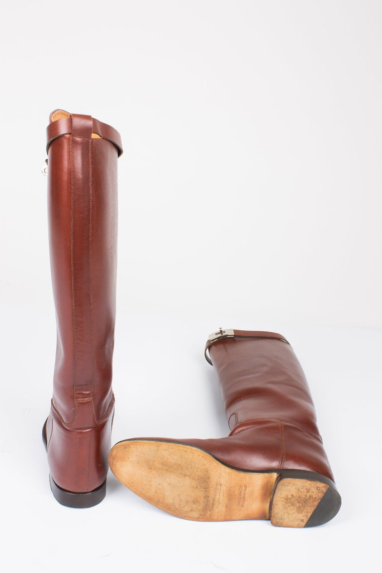 Women's Hermès Jumping Riding Equestrian Leather Boots - brown For Sale
