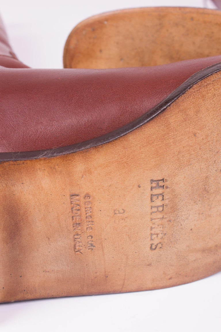 Hermès Jumping Riding Equestrian Leather Boots - brown For Sale 1