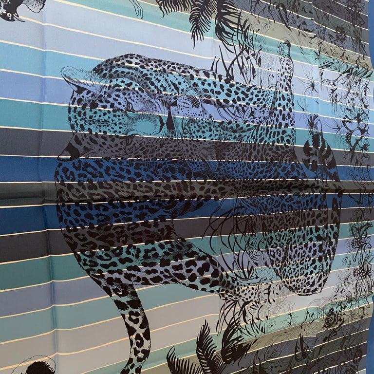 Hermes Jungle Love Rainbow Silk Scarf 90cm New Robert Dallet Blue Jean In New Condition In Delray Beach, FL