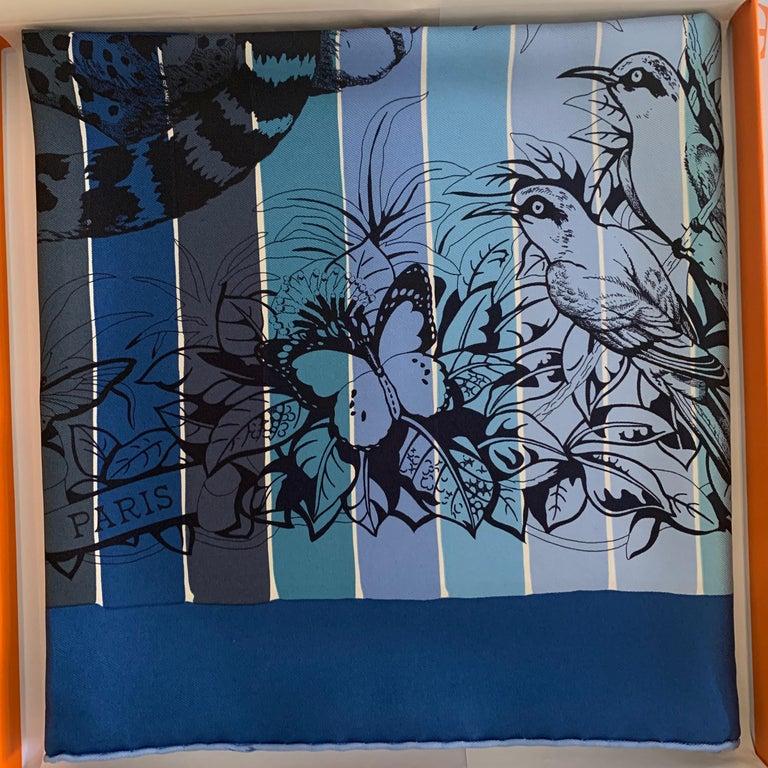 Hermes Jungle Love Rainbow Silk Scarf 90cm New Robert Dallet Blue Jean 1
