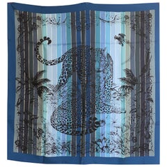 Hermes Jungle Love Rainbow Silk Scarf 90cm New Robert Dallet Blue Jean