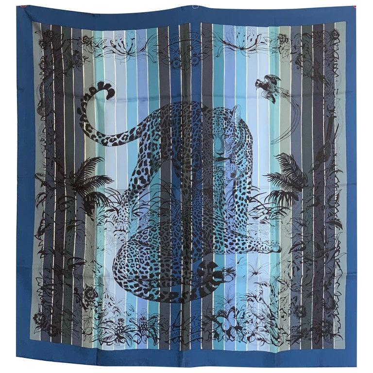 Hermes Jungle Love Rainbow Silk Scarf 90cm New Robert Dallet Blue Jean