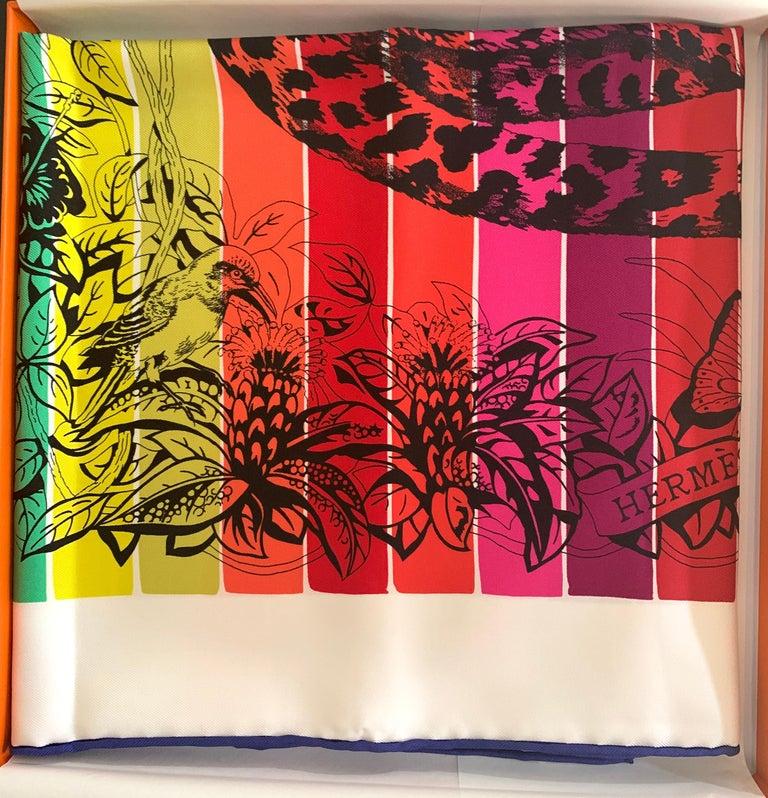 Pink Hermes Jungle Love Rainbow Silk Scarf 90cm New Robert Dallet White 03