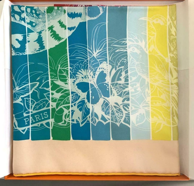 Hermes Jungle Love Rainbow Silk Scarf 90cm New Robert Dallet White  In New Condition For Sale In Delray Beach, FL
