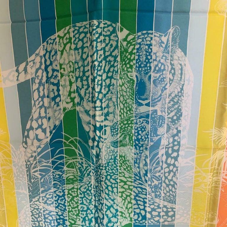 Women's or Men's Hermes Jungle Love Rainbow Silk Scarf 90cm New Robert Dallet White  For Sale