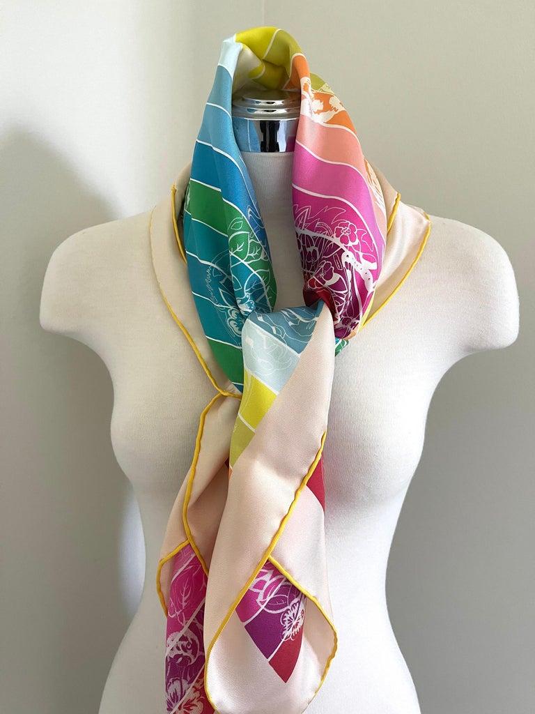 Hermes Jungle Love Rainbow Silk Scarf 90cm New Robert Dallet White  For Sale 1