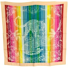 Hermes Jungle Love Rainbow Silk Scarf 90cm New Robert Dallet White