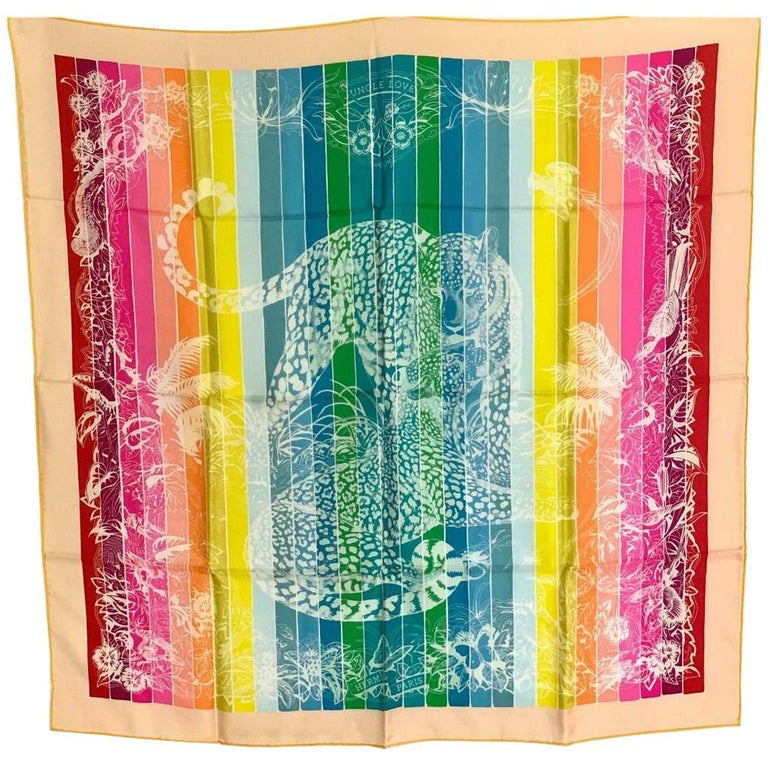 Hermes Jungle Love Rainbow Silk Scarf 90cm New Robert Dallet White  For Sale