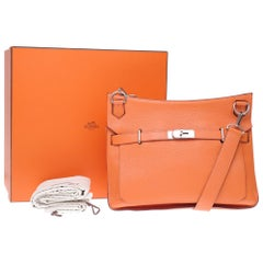 Hermès Jypsière crossbody bag in orange togo leather with Palladium hardware