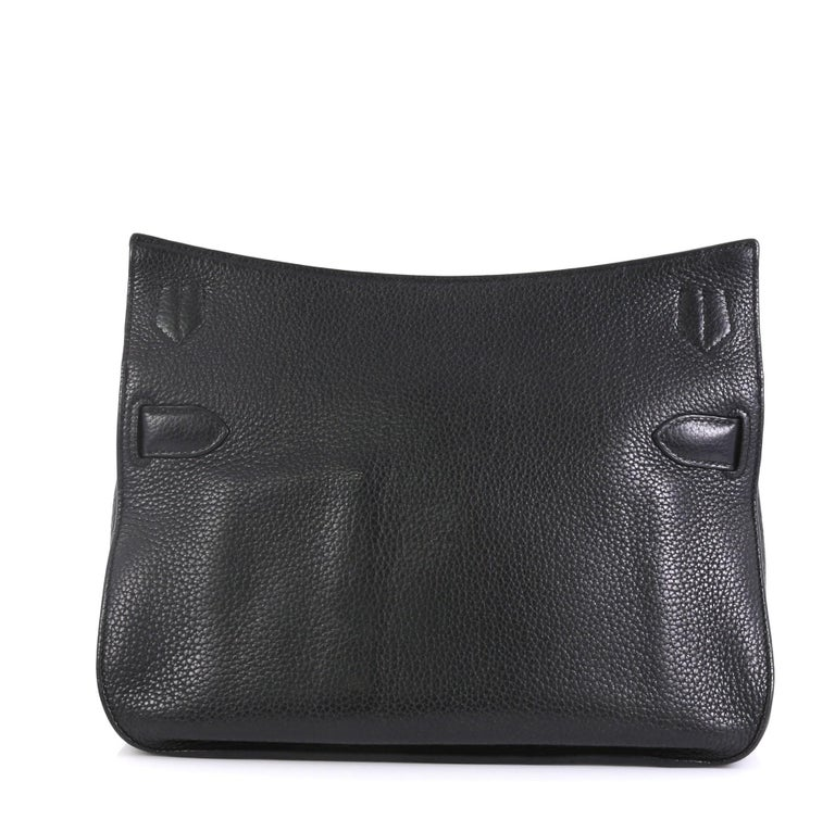 Black Hermes Jypsiere Handbag Clemence 28 For Sale