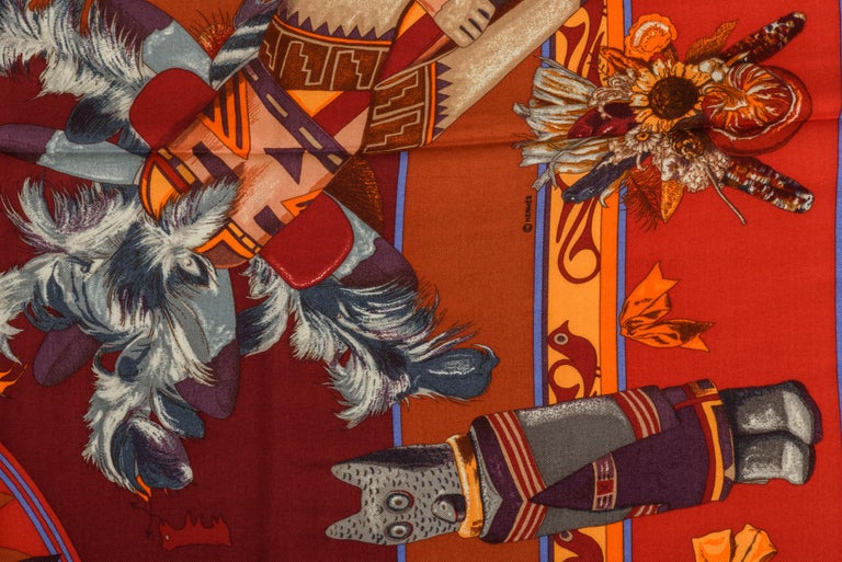 Hermes Kachinas Orange Red Cashmere Shawl in Box, Oliver In New Condition For Sale In West Hollywood, CA