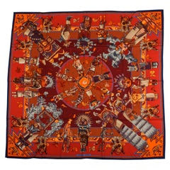 Hermes Kachinas Orange Red Cashmere Shawl in Box, Oliver
