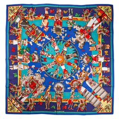 Hermes Kachinas Shawl 140 Bleu Royal Cashmere Silk Scarf New
