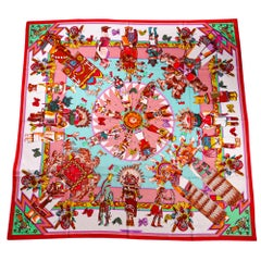 Hermes Kachinas Shawl 140 Pink / Seafoam Cashmere Silk Scarf New