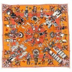 Hermes Kachinas Silk Scarf in Orange Kermit Oliver c1990s