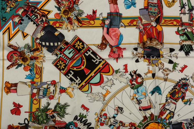 Hermes Kachinas coveted print scarf by Us artist Kermit Oliver. Great condition, hand rolled edges. Does not include box.