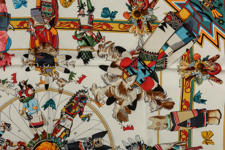 Brown Hermes Kachinas White Silk Scarf by Kermit Oliver For Sale